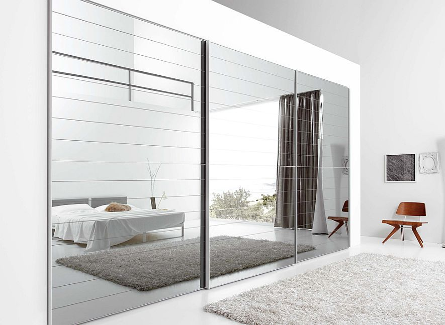 15 ideas of ultra modern mirror covered furniture miroir for Placard chambre moderne