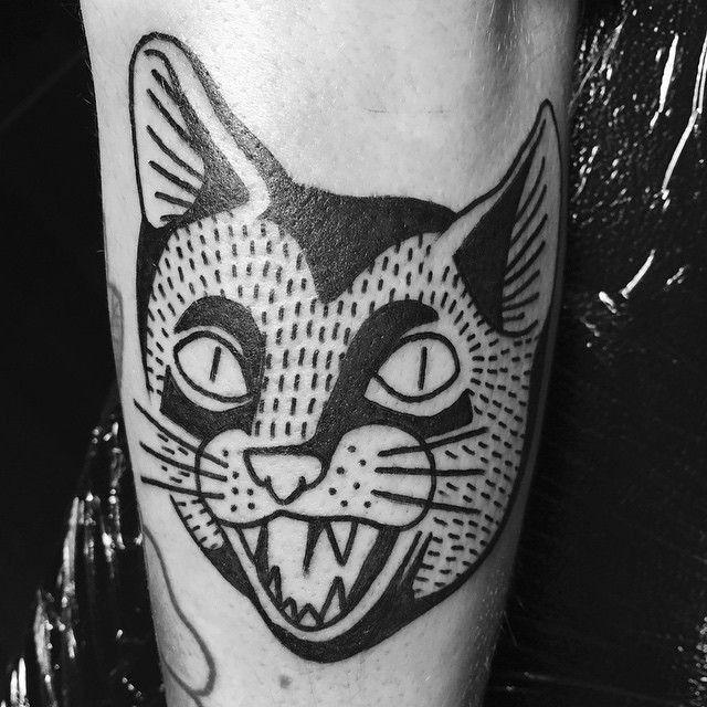 Traditional Black Ink Cat Tattoo Black Cat Tattoos Cat Tattoo Head Tattoos