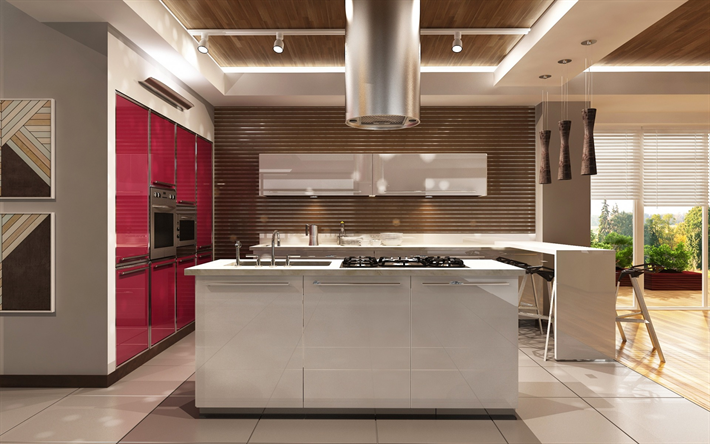 Interni Moderni Cucine : Scarica sfondi cucina moderna di design minimalismo superfici