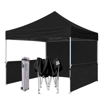 Eurmax Premium 10 Ft W X 10 Ft D Metal Pop Up Canopy Roof Color Black Commercial Canopy Tent Canopy Tent Outdoor