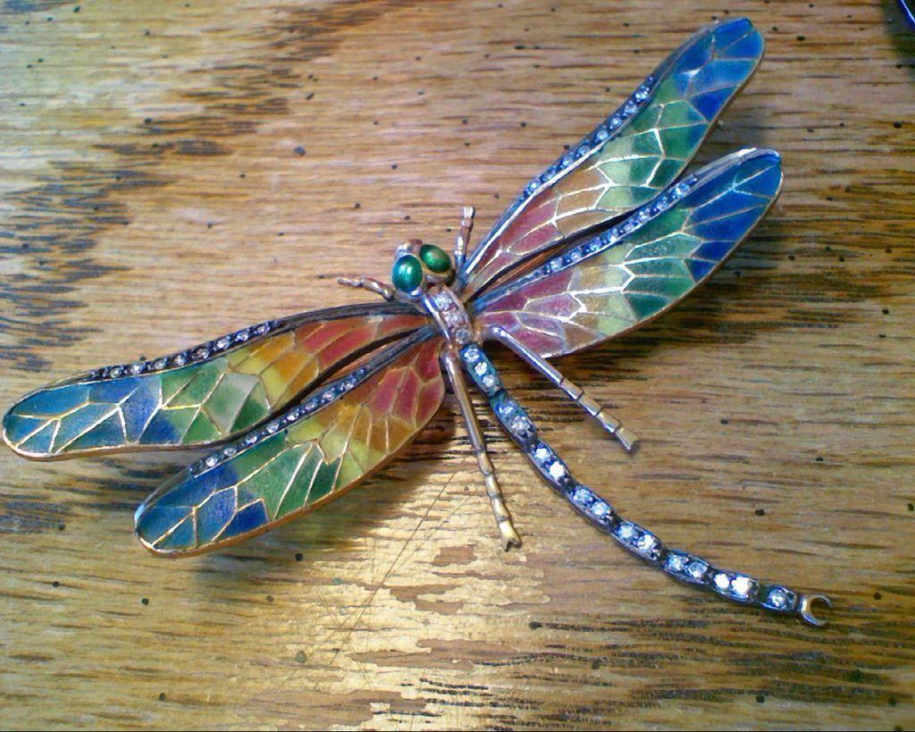 Fabulous Vintage Plique de Jour 18K Gold Diamonds Ruby Dragonfly Brooch/Pin