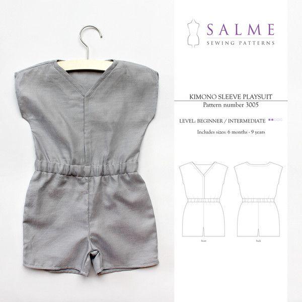 Patron de couture numérique - Kimono Combishort manches | Couture ...