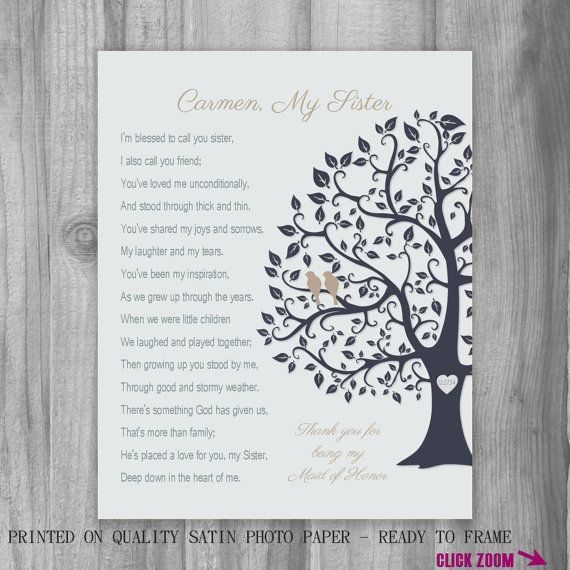 SISTER GIFT Maid Of Honor Thank You Proposal 2015 Wedding Colors