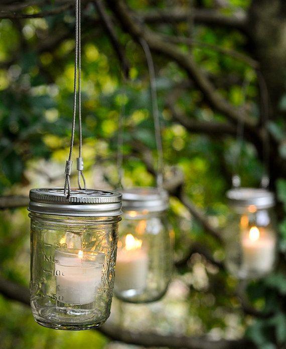 Mason jar candle holders set of 5 by gammassoapandstuff on for Mason jar holder ideas
