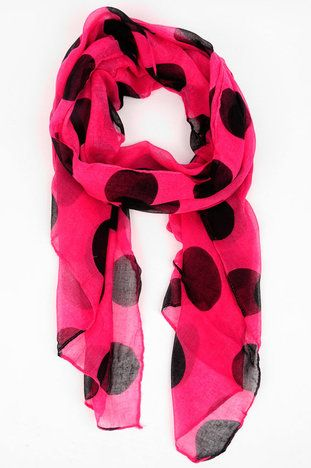 bbabf77a77ac Absolutely love this pink and black polka-dot scarf