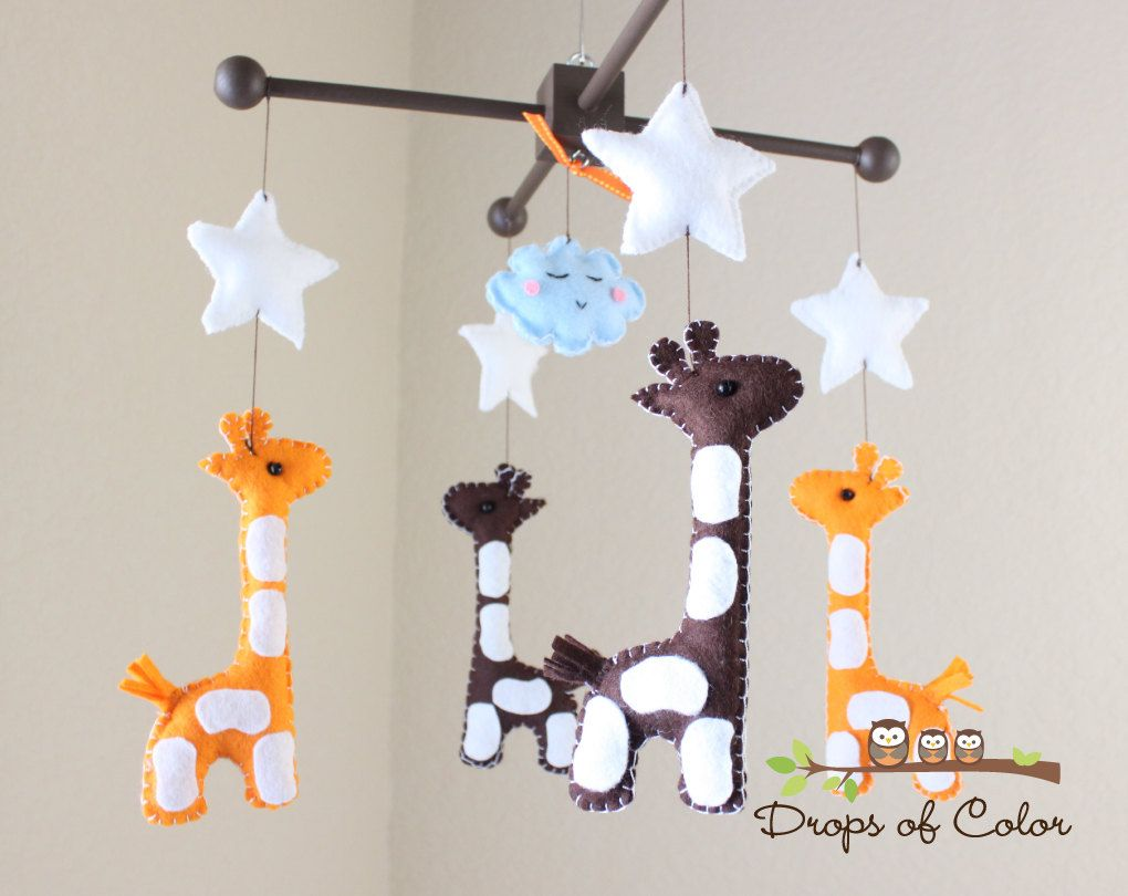 Baby Mobile Crib Nursery Giraffe Safari Giraffes You Can Pick Your Colors 90 00 Via Etsy