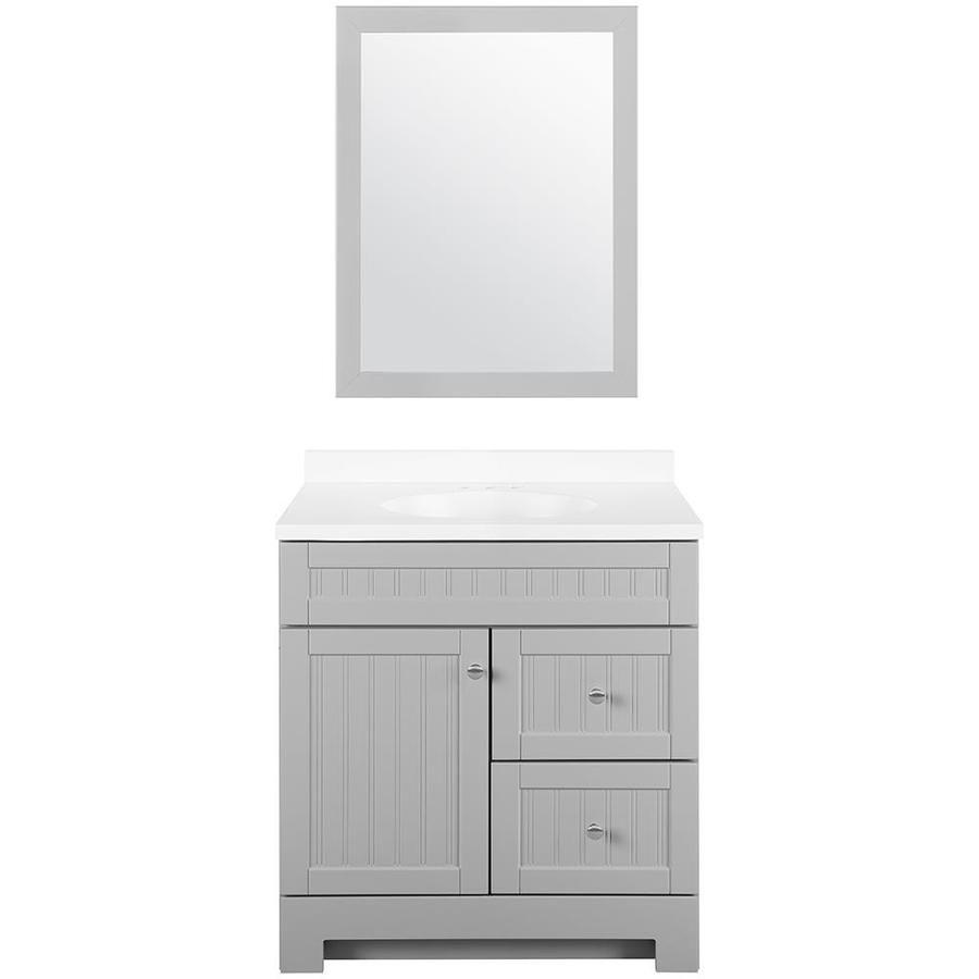 Style Selections Ellenbee 30 In Gray Single Sink Bathroom Vanity With White Cultured Marble Top Mirror Included Lowes Com Bathroom Vanity Grey Bathroom Vanity Bathroom Sink Vanity
