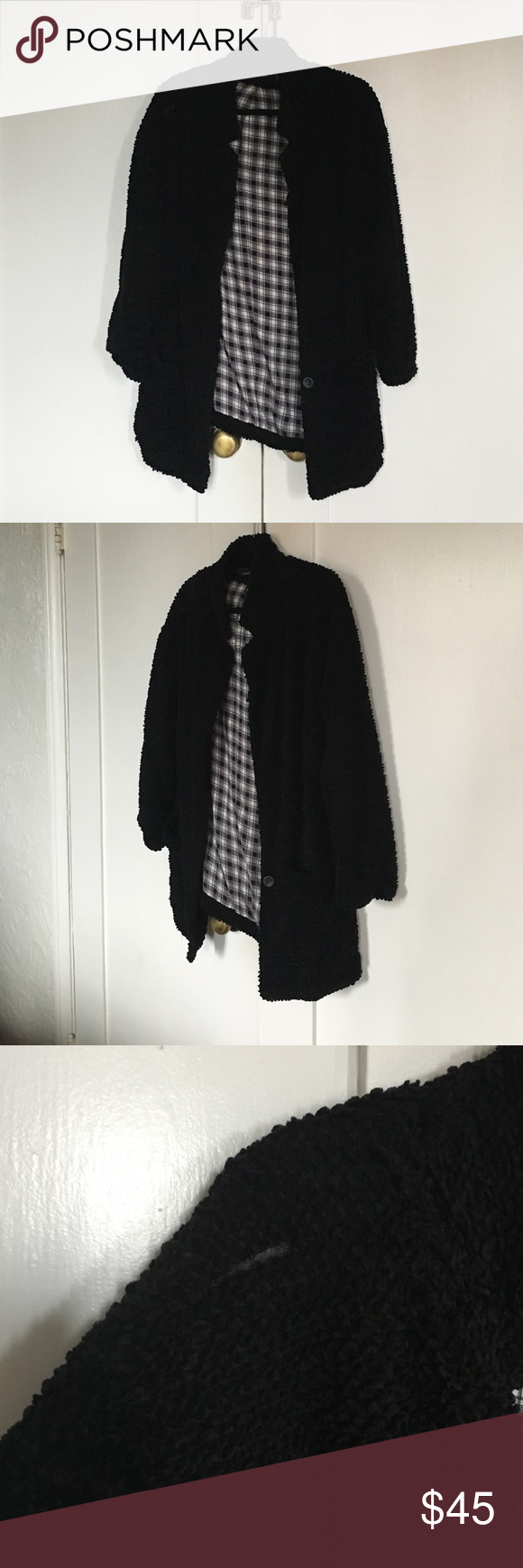Minkpink black sweater jacket. Cute sweater jacket with plaid lining. Minor wear (pictured on third photo) MINKPINK Jackets & Coats