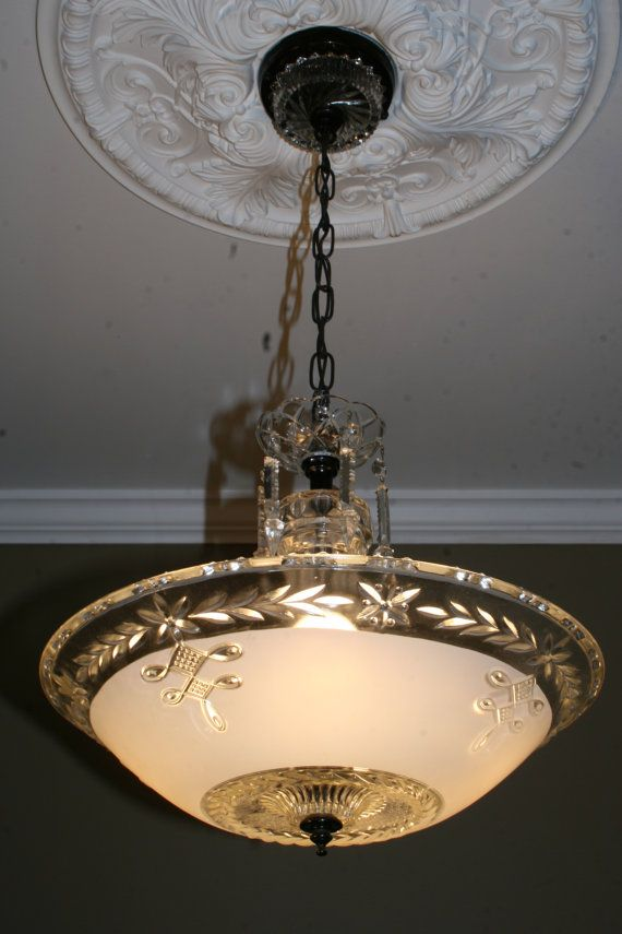 1940s Antique Frosted Glass Art Deco Hanging Light Fixture Ceiling