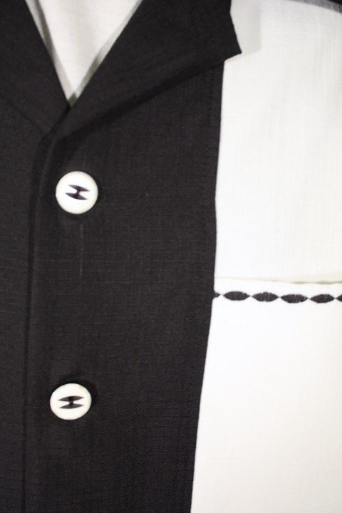 Size XXL Black and White Panel Shirt with Decorative Stitching. See more or buy it at: http://www.reprovintageclothing.com/clothing/clothing_men/cm0197.html