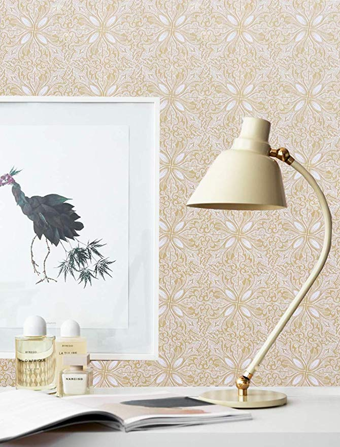 Gold Peel and Stick Wallpaper Floral Self