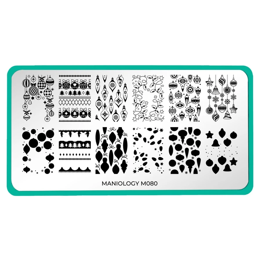 Best Christmas Nail Stamping Plates 2020 Winter Layers: Christmas Lights (m080)   Nail Stamping Plate in