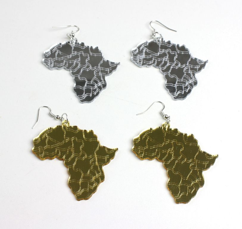 Africa Mirror Map Earrings Africans Fashion Accessories and Gold