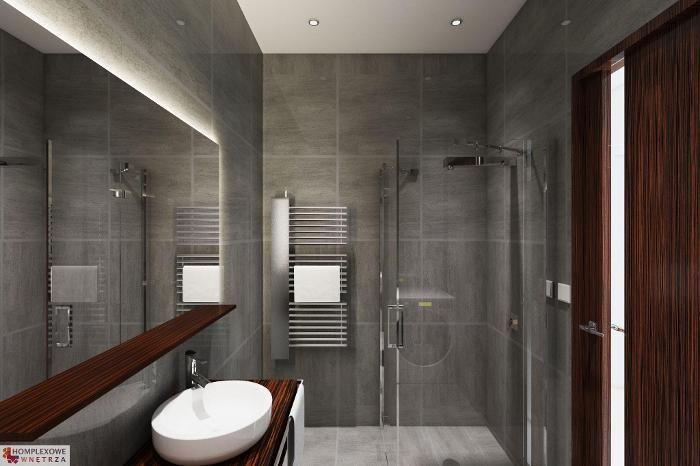 Lighting Basement Washroom Stairs: Aranżacja łazienki Wystrój Nowoczesny, Industrialny