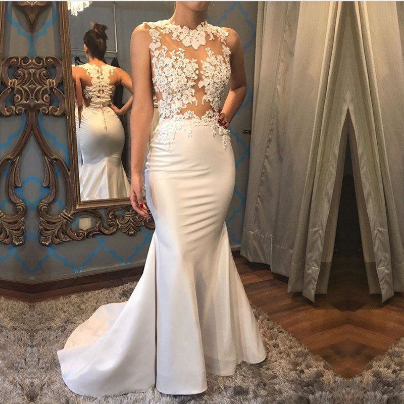 Elegant White Satin Mermaid Wedding Dress With Lace Liques Jd 146 Thumbnail 1