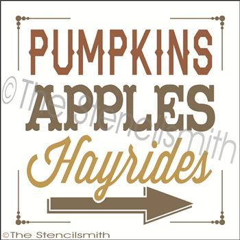 Plantilla de Pumpkins manzanas allí flecha señala co | the stencil ...