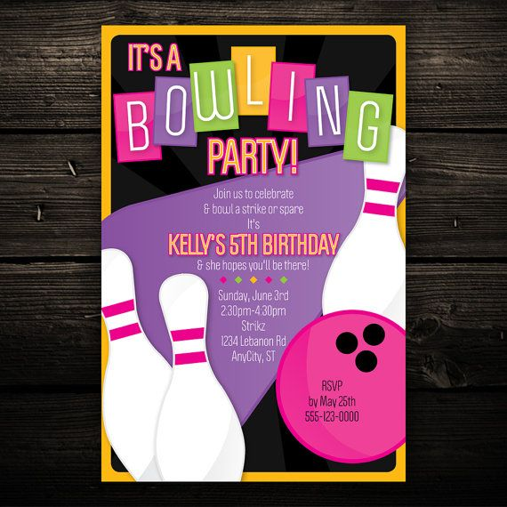 Retro Bowling Party Printable Birthday by LittleBeesGraphics - bowling flyer template free