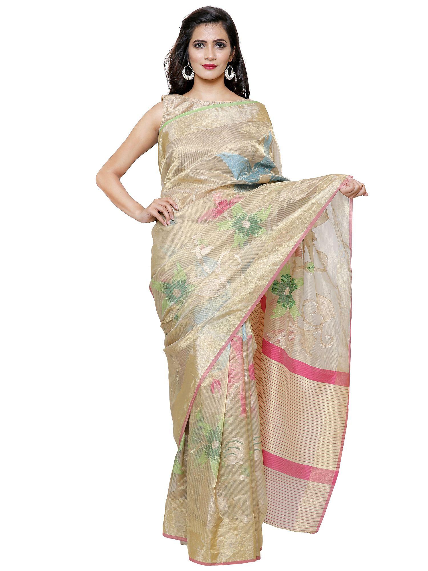 6e88fe3976009 Off White Banarasi Silk Tissue Saree with Multicolor Floral Pattern ...
