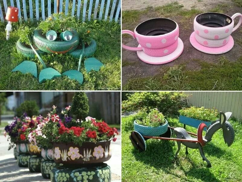 Allotment Ideas Flower Pots Allotment Tyres Recycle