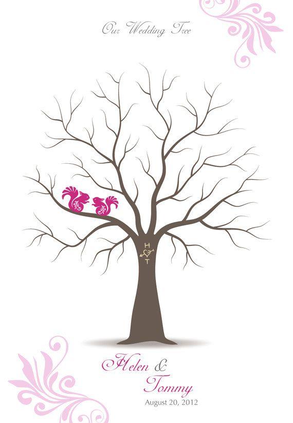Shabby Chic De Huellas Digitales árbol instrucciones Personalizado Boda Cartel Afiche