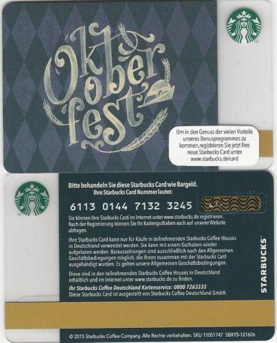 Starbucks Card Germany Oktoberfest Munich 6113 New Starbucks Advertising Starbucks Card Starbucks Gift Card