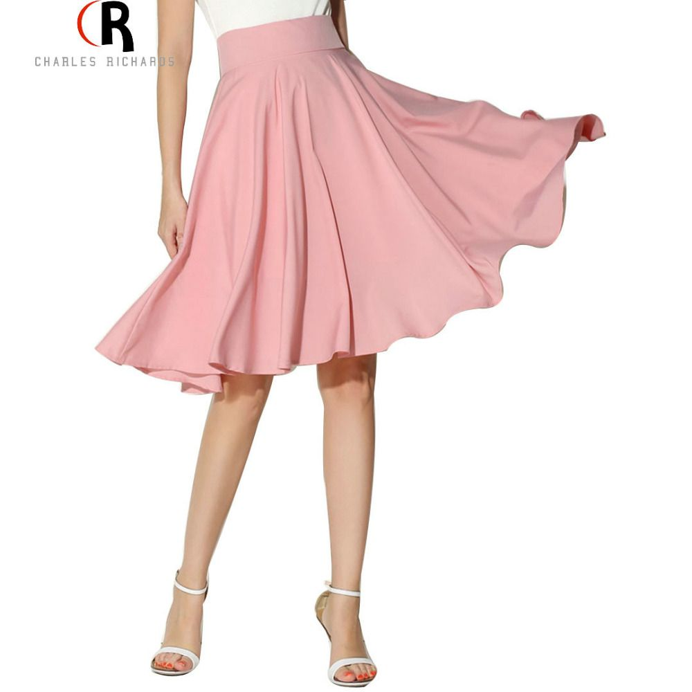 4e2af4e936 Aliexpress.com  Comprar Midi falda 2016 mujeres del verano ropa de cintura  alta plisada una línea Skater ocasional Vintage Saia hasta la rodilla de la  ...