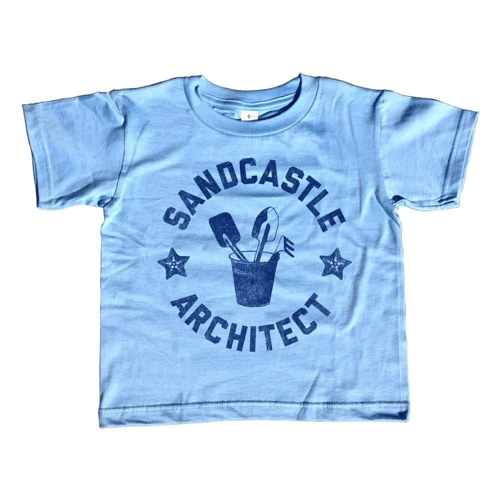 Girl's Sandcastle Architect T-Shirt - Unisex Fit Funny Beach Shirt - 3T / Light Blue