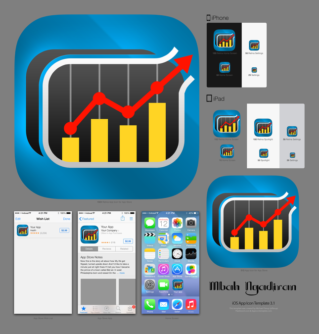 Create a winning IOS icon for a hot analytical app by mbah ngadiran