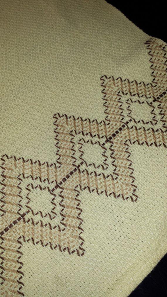 Linen Tea Towel ~ Hand Towel with Huck Embroidery | Punto yugoslavo ...