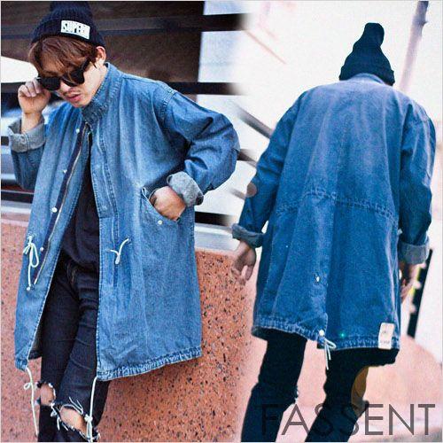 Stand color light denim zip half-court men's trend fashionable ...