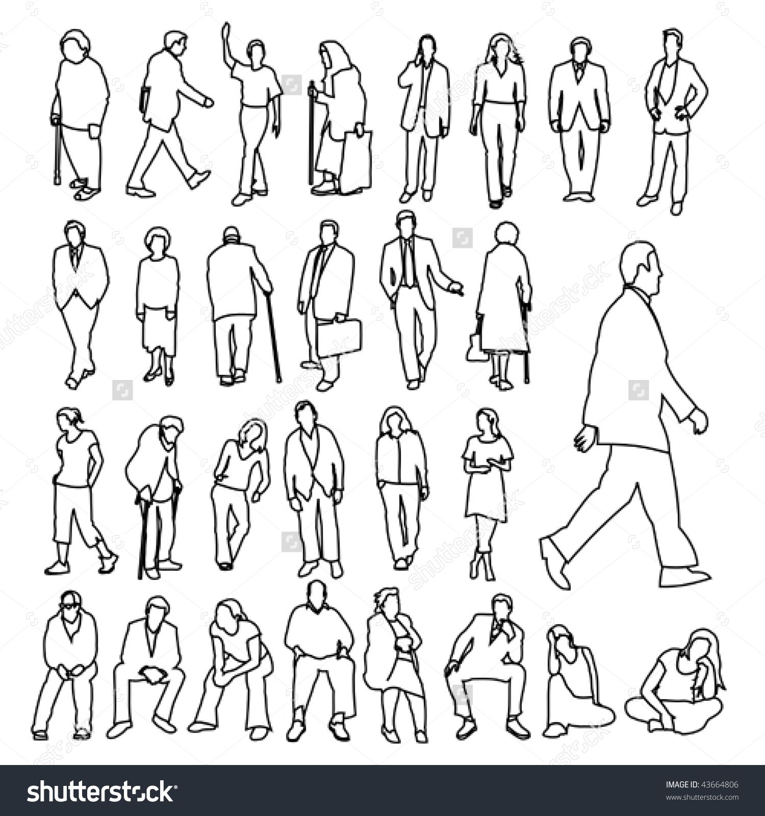 Lots Of People Line Style Drawing Sketches Of People Drawing People Human Sketch