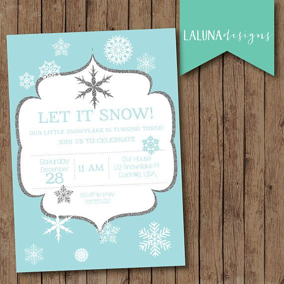 Winter Birthday Invitation, Snowflake Invitation