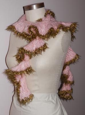 Hand Crocheted Pink Mohair Ruffle Scarf