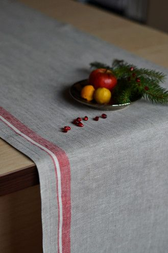 Gray Linen Runners Lace Table Runner Natural Organic Linen Table Runners by:-BVLifeStyle