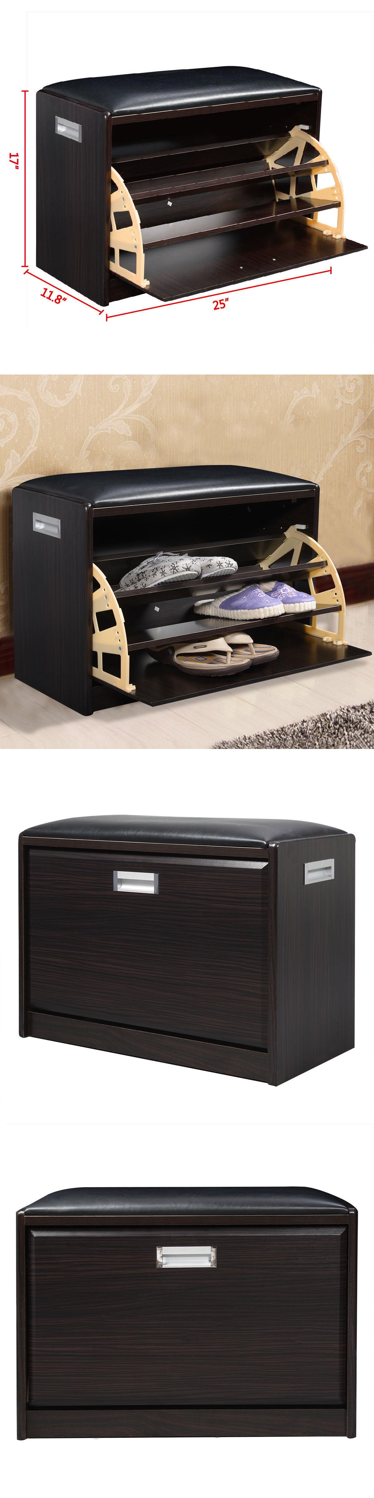 Shoe organizers wood shoe storage bench ottoman cabinet
