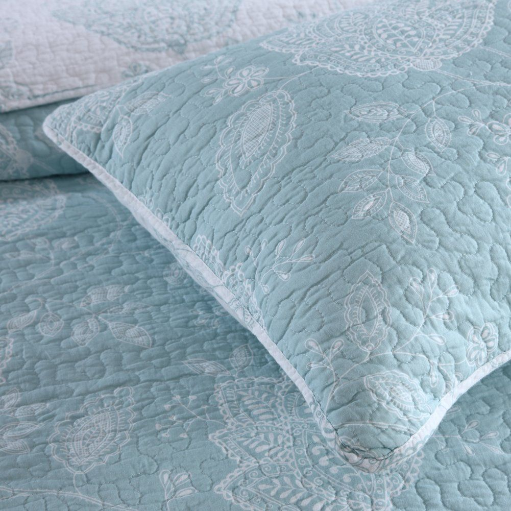 Halzander Quilts Queen Set Cotton Quilted Bedspread Sets3 Piece Bedding Reversible Comforter Coverlet Set Blue Flow Quilted Bedspreads Coverlet Set Queen Quilt