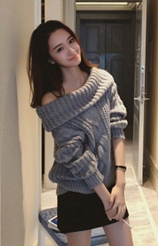 Casual Chic Grey Cable Knit Boat Neck Off Shoulder Sweater. Pull Over 8b54d23c5