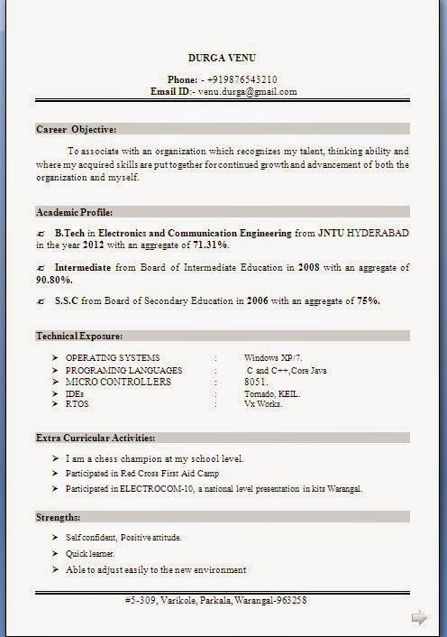 sample resume for electronics and communication engineer