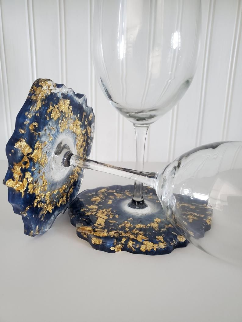 Wine Glasses with Geode Coaster, Wine Glass for he