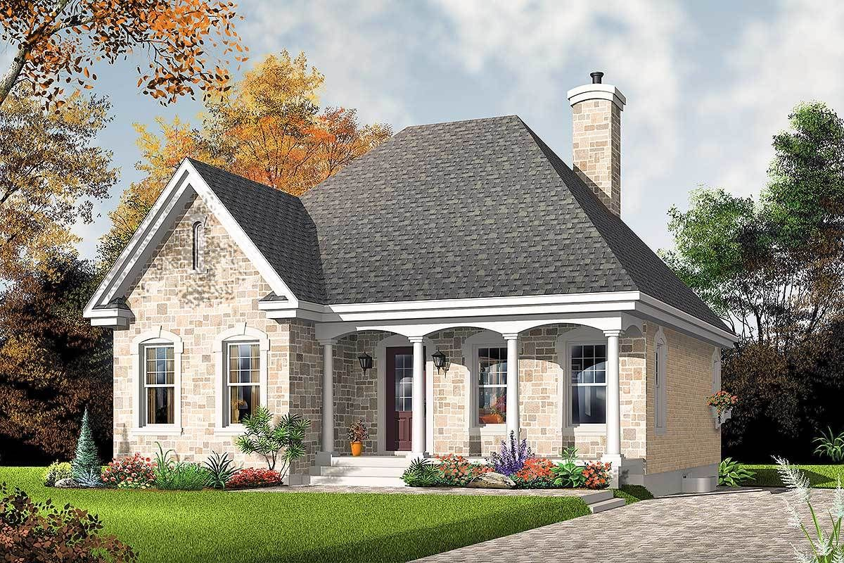 Plan 21279dr Stone Cottage With Options European House Plans House Plans Country House Plans