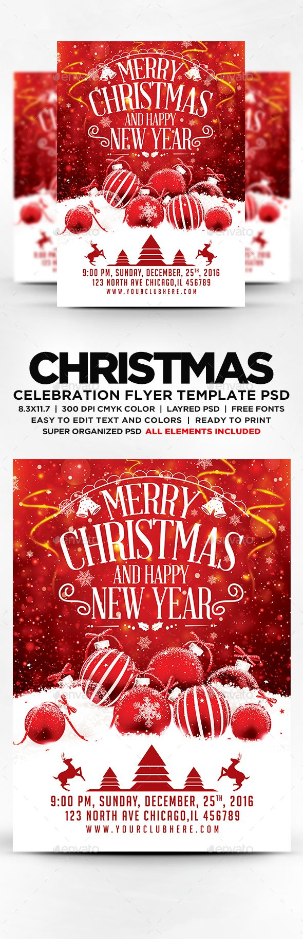 merry christmas and happy new year flyer template psd