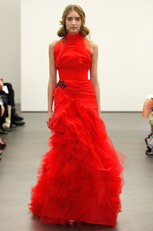 A dramatic red Vera Wang wedding gown, Spring 2013.