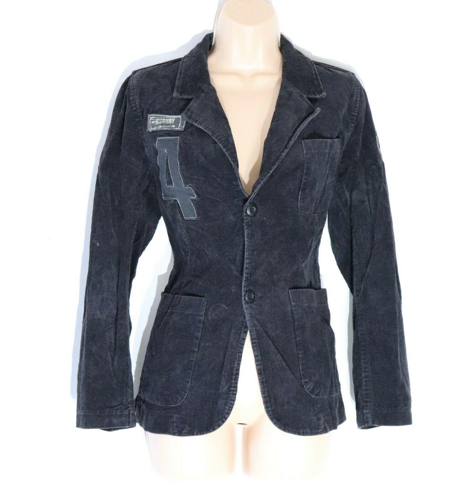 Women's Vintage WE Hip Length Fitted Black Corduroy Blazer