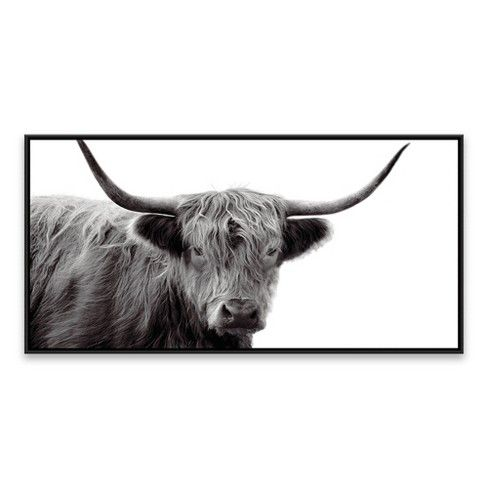 24 25 X 48 25 Highland Cow Framed Wall Canvas Black White Threshold Framed Wall Canvas Cow Canvas Wall Canvas