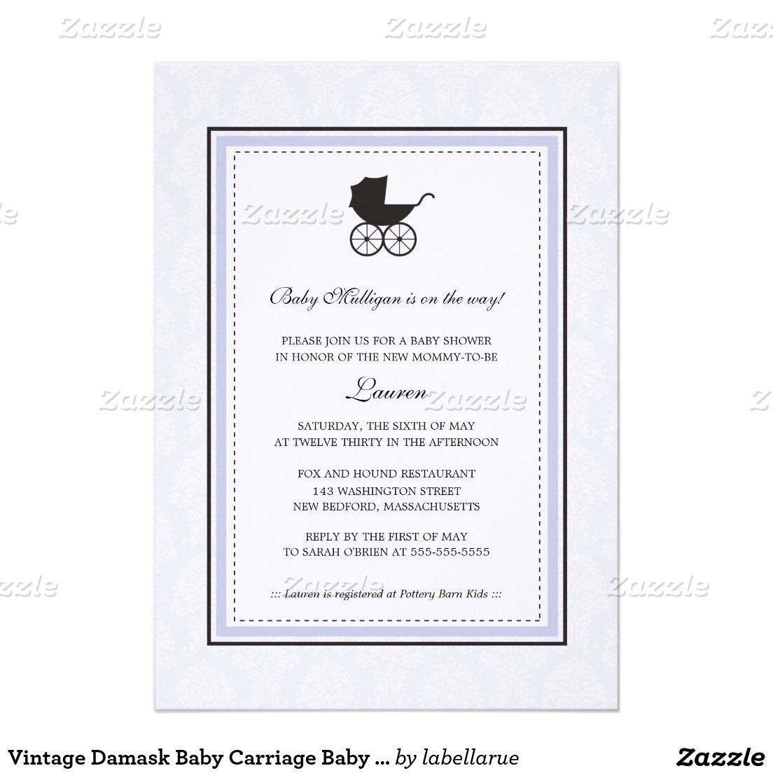Vintage Damask Baby Carriage Baby Shower Card | Baby carriage ...