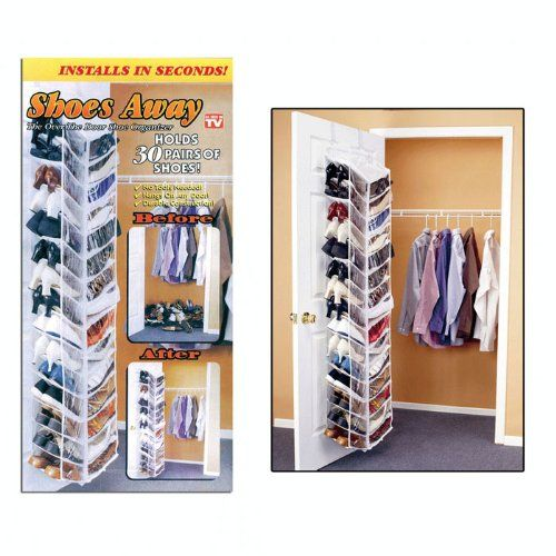 Shoes Away 30 Pair Shoe Hanging Closet Door Storage Space Saver Generic Http Www Amazon Com With Images Hanging Closet Storage Closet Door Storage Hanging Shoe Organizer