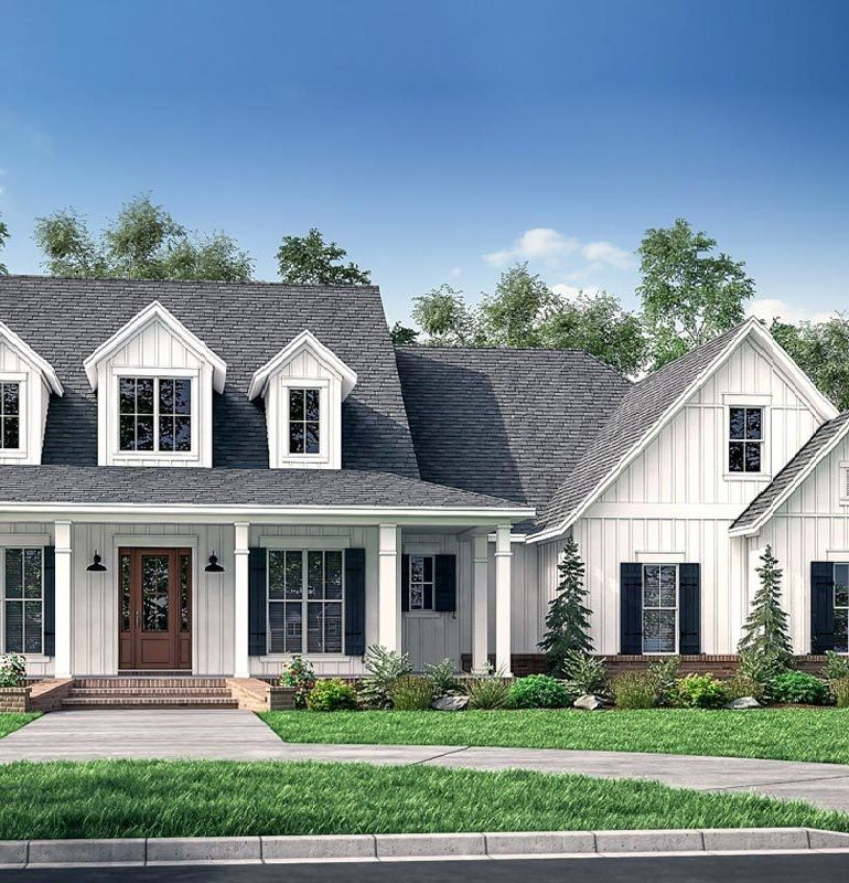 This Fresh 4 Bedroom Farmhouse Plan Greets You With A Wrapped Front Porch Open Concept Living Spaces In 2020 Ranch Style House Plans House Plans Cool House Designs