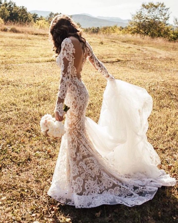 Beautiful Feminine Sheer Back Wedding Dress | fabmood.com #weddingdress #weddingdresses #weddinggown #wedding #bridalgown #bridaldress