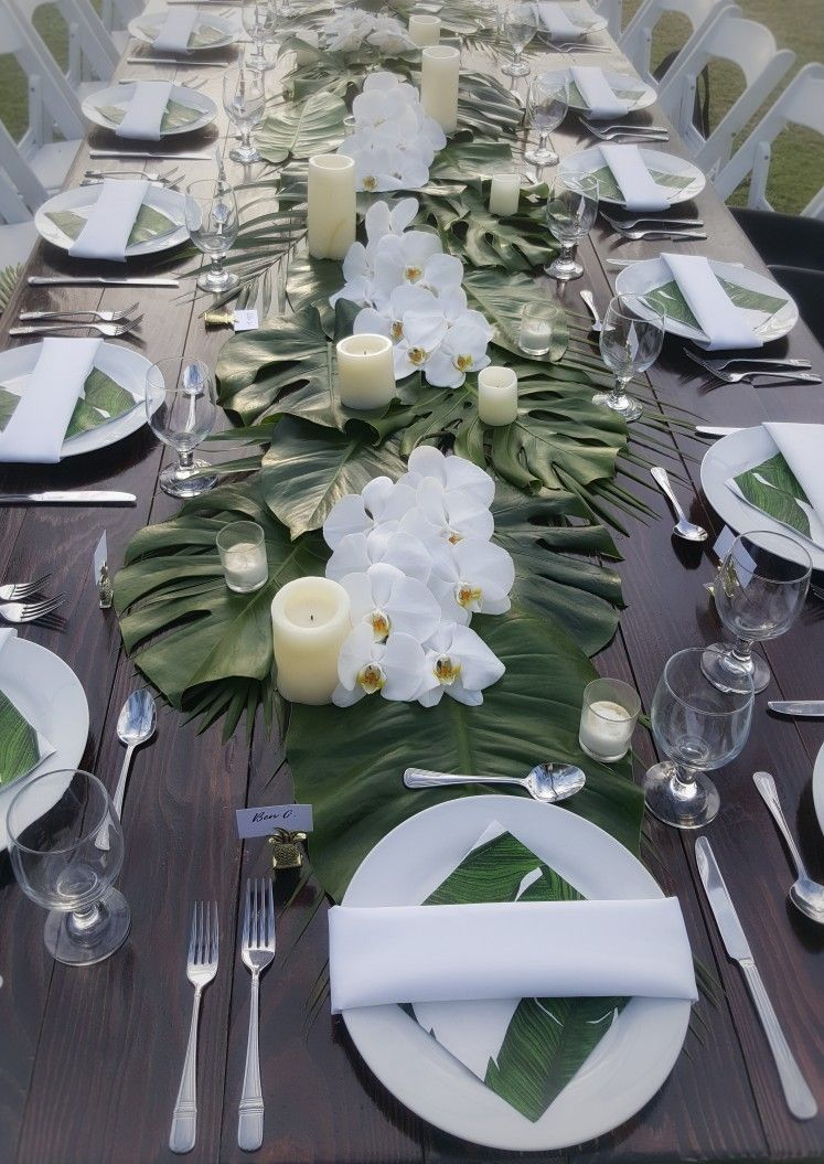 Tropical Themed Table Set Up With Classy Combination Of Greens And White By Cherished In Wedding Party Table Setting Tropical Wedding Theme Wedding Party Table