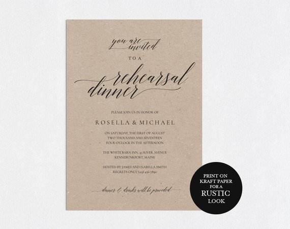 Printable Wedding Rehearsal Invite Dinner